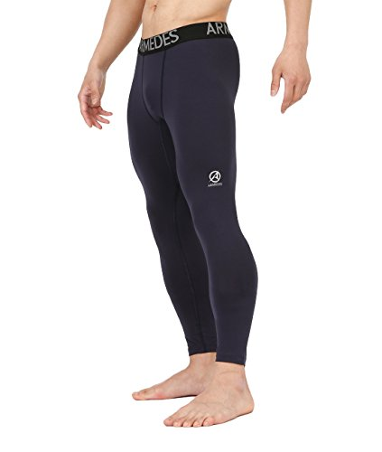 's Compression Unique Cool Dry Thermal Running Fitted Long Tights Navy,M (Fitted Thermal)