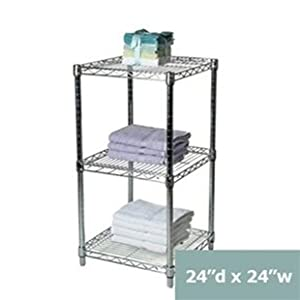 24 d x 24 w chrome wire shelving with 3. Black Bedroom Furniture Sets. Home Design Ideas