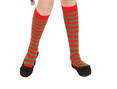 [Green Red Knee High Socks Striped Clown Christmas Costume Accessory Child Elf] (Elf Maiden Costume)