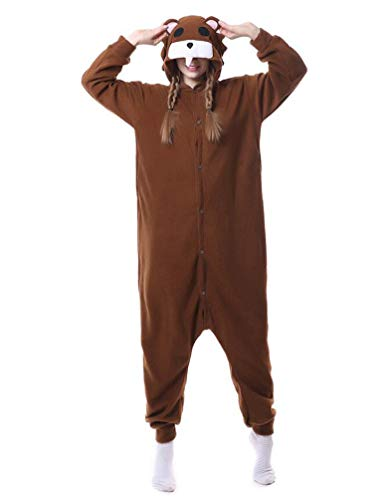 Adult Unisex Animal Cosplay Pajamas Onesies Costumes Dull Bear]()