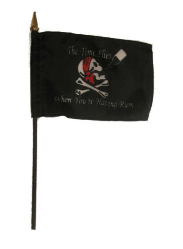 Wholesale Lot of 12 Jolly Roger Pirate Time Flies Rum 4''x6'' Desk Table Flag BEST Garden Outdor Decor polyester material FLAG PREMIUM Vivid Color and UV Fade Resistant by Moon
