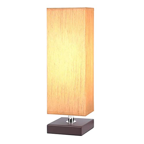 Bedside Table Lamp, Aooshine Minimalist Solid Wood Table Lamp Bedside Desk Lamp with Square Flaxen Fabric Shade for Bedroom, Living Room, Kids Room, Bookcase