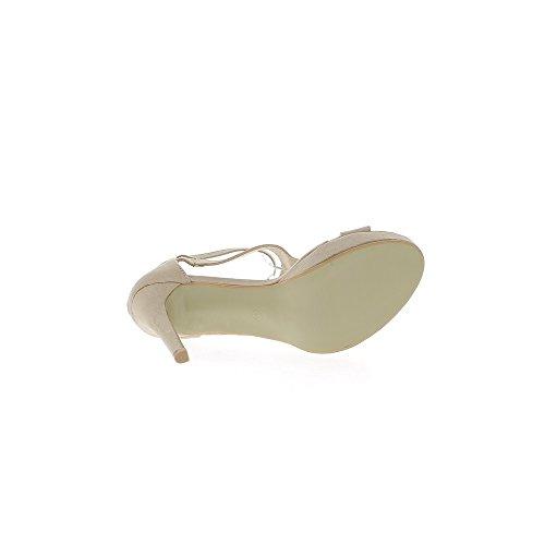 Tolle Sandalen Größe Beige 12cm Ferse Aspekt Wildleder Plattform 3cm