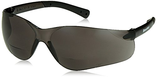 (Crews BKH20G BearKat Magnifier Polycarbonate 2.0 Diopter Gray Lens Safety Glasses with Non-Slip Hybrid Black Temple Sleeve)