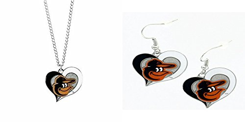 Officially Licensed Swirl Heart Necklace and Earring Set Baltimore Orioles