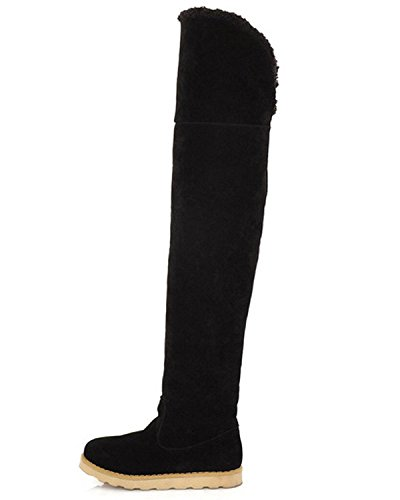 Maybest Women's Winter Faux Fur Snow Boots Over The Knee Pull On Slouchy High Boot Black 9 B (M) US