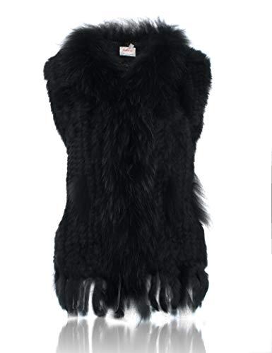 avec de Fourrure de Lapin 100 Raccoon Veste col tricot HEIZZI SwYqZF