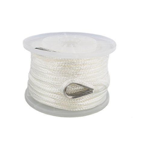 """Nylon Anchor Line - Anchor Rope Nylon Braided w/ Thimble, 3/8"""" Inch by 100' Feet, 386 lbs Pound Limit – Boat Anchor, Dock Line, Mooring Line"""