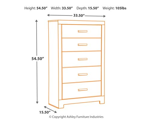 Ashley Furniture Signature Design - Harlinton Chest of Drawers - 5 Drawer Dresser - Contemporary Vintage - Warm Gray…