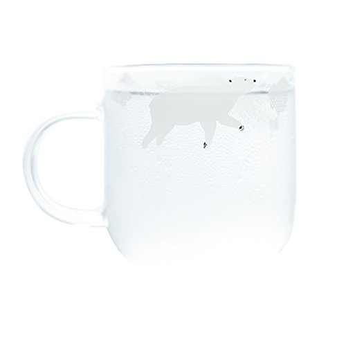 (Joint Victory 12 oz Glass Coffee Cups with Handle - Polar Bear Mugs for Coffee, Tea, Cocoa, Milk, Latte or Water (Small-Polar bear))