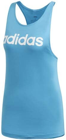 adidas Women's Ess Lin Lo Tank Sleeveless T-Shirt Blue/White
