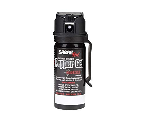 SABRE RED Pepper GEL - Police Strength with Flip Top for Safe - Fast Deployment - 20 Foot (6m) Range & 8 Full 1 Second Bursts - Ability to Deploy at Any Angle or Orientation PLUS Belt Clip ()