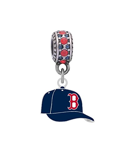 Boston Red Sox Ball Cap Charm Fits Most Bracelet Lines Including Pandora, Brighton, Chamilia, Troll, Biagi, Zable, Kera, Personality, Reflections, Silverado and More ...