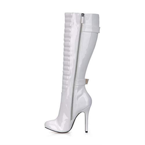 d'hiver Genou Femmes White pour Bout À Hauts Bottes Color 12CM Buckle Chaussures Talons Chaussures Pointu Verni Cuir Zipper Au en Solid 4qfSdAw