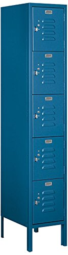 5 Tier Box Locker - Salsbury Industries 65155BL-U Five Tier Box Style 12-Inch Wide 5-Feet High 15-Inch Deep Unassembled Standard Metal Locker, Blue
