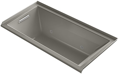 Price comparison product image KOHLER 1167-VCLW-K4 Underscore 60-Inch x 30-Inch Drop-In VibrAcoustic Bath with Bask Heated Surface,  Tile Flange,  Chromatherapy,  and Left-Hand Drain,  Cashmere