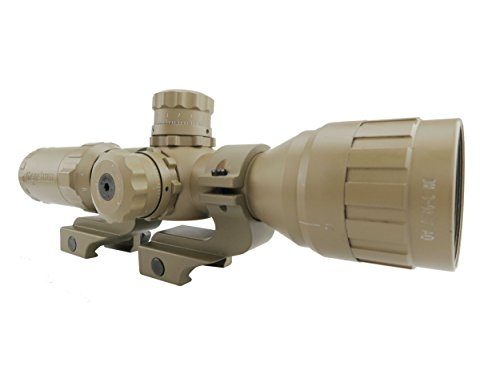 Monstrum Tactical 3-9x32 AO Rifle Scope with Illuminated Range Finder Reticle and High Profile Scope Rings (Flat Dark Earth/Flat Dark Earth Offset Rings)