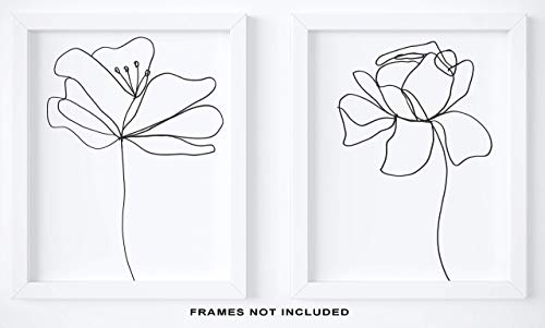 "Abstract Black & White Flower Wall Decor - Set of 2-8x10"" UNFRAMED Prints - Modern, Minimalist Floral Lines Wall Art from KL Design Co."