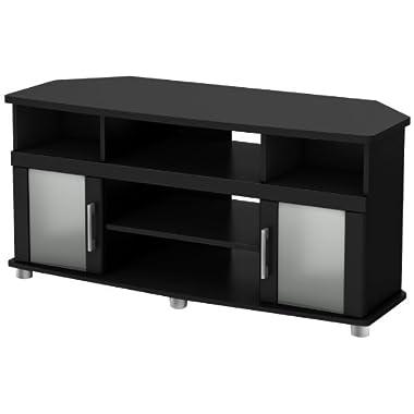 South Shore City Life Corner TV Stand, Pure Black Finish