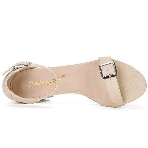 Allegra K Femmes Open Block Toe Talon Boucle Sangle Ankle Beige Sandales Us 9