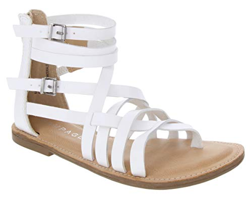 Rampage Women's Maddy Sandal Strappy Gladiator Demi Wedge with Buckle White 10