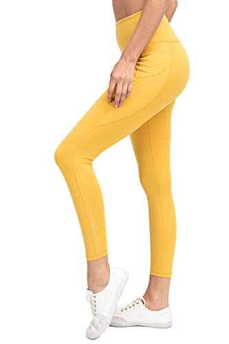 Another Day Women's High Waisted Active Casual Wear Full Length Ankle Reflector Yoga Leggings with Side Pockets (S-3X) Mustard