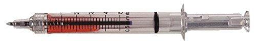 Kugelschreiber Spritze aus Kunststoff,mit Roter F Lüssigkeit Gefüllt. Close Up