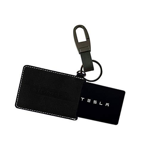 Car Card Business Key Holder Card Case Car Keychain Holder Leather Key Card protectors Compatible Tesla Model 3 (Black) ()
