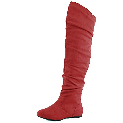 DailyShoes Women's Fashion-Hi Over the Knee Thigh High Boots Red SV, 6 (Red Flat Boots)