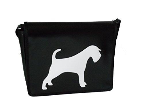 Umhängetasche Hunde-Motiv Schnauzer Weiss/Schwarz H 20, B 26, T 8 cm