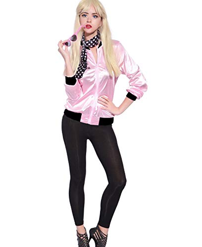 Tdmall 50's Costume Party Rhinestone Pink Ladies Jacket Adult Standard with Scarf -