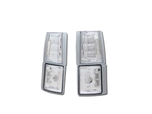 HS Power Chrome Clear Corner Lights 1994-2000 for GMC C10 C/K Pickup/SUV Signal Parking Lamps K2 ()