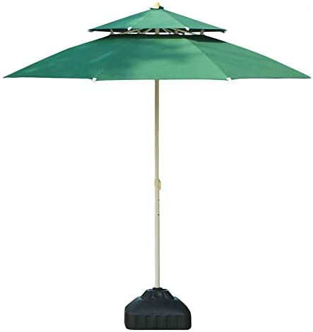 CHHDガーデンパラソル9フィートビーチ/プール/ガーデン/パティオパラソルダブルトップ、水/UV耐性市場屋外テーブルパラソル(色:オフホワイト、サイズ:9 Ft / 270cm)(色:オフホワイト、サイズ:Ft / 270cm)