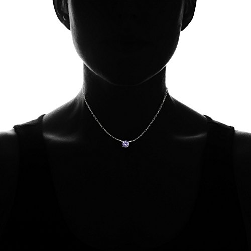 - Ice Gems Sterling Silver Small Dainty Round Simulated Alexandrite Choker Necklace