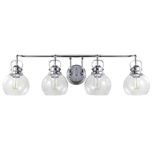 JONATHAN Y JYL7406A Shirley 34 4-Light Metal Bubbled Glass Vanity, Chrome Clear