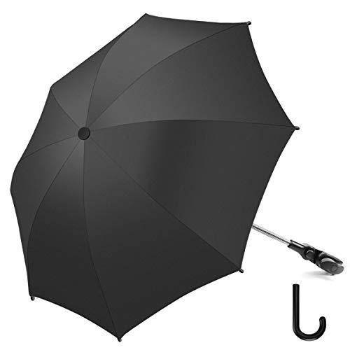 RIOGOO Sombrilla Sombrilla Sombrilla Universal 50+ UV Sombrilla de proteccion solar para bebes y bebes con manija de paraguas para cochecito, silla de paseo, silla de paseo y Buggy-Black