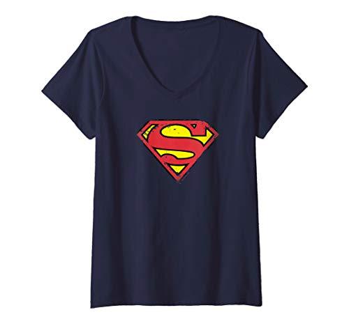 Womens Superman Distressed Shield V-Neck T-Shirt]()