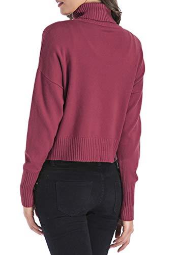 Femmes Casual Blouse Tricots Hauts Roul Manches Printemps Mode Unie Sweater Jumper et Fuchsia Chandail Legendaryman Couleur Longues Automne Shirts Col Pullover Tops Pull 06wSqtC