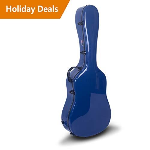 Crossrock CRF1000DNVBL Fiberglass Acoustic Guitar Case Hardshell- Backpack Style for 40