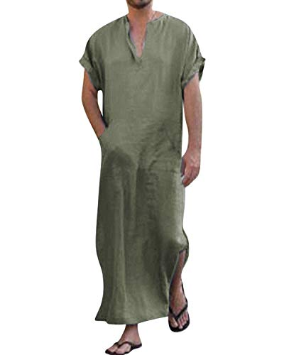 Jacansi Mens Cotton Thobe Short Sleeve V Neck Solid Robe with Pockets Army Green XL