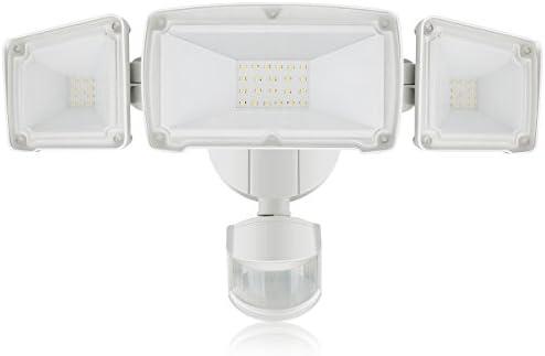 LED Luz de Seguridad de 3800LM, Luz de Sensor de Movimiento al Aire Libre de 35W, 5000K, 3 Focos de Cabeza Ajustable con 2 Modos Automáticos y Permanente, ...