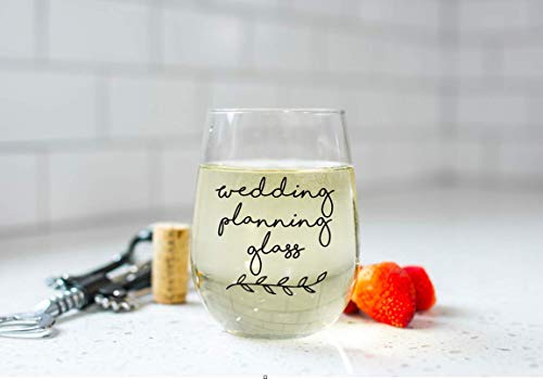 Wedding Planning Glass Glass with Wreath, Choose Font Color, Custom Stemless Wine Glass, Bride Gift Ideas, Wedding Gift Ideas, Bridal Shower Wine Glass