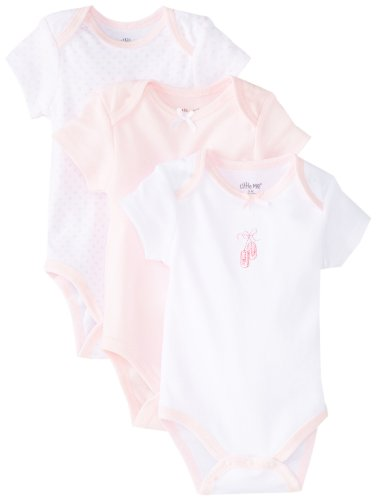 Little Me Baby-Girls Newborn Ballerina 3 Pack Bodysuit, White/Pink, 3 Months -