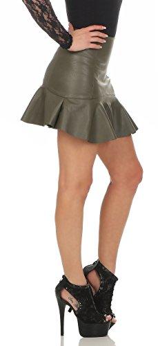 1ca98d4de9eb4 11044 Fashion4Young Damen Rock Minirock Rock Lederimitat Skirt ...
