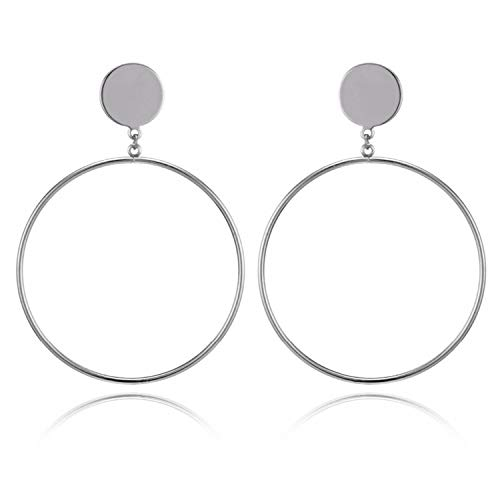 Super Cute Earing Silver/Gold Color Long Hollow Big Round Earrings Hiphop Rock Simple For Women Accessories Jewelry,E034-2
