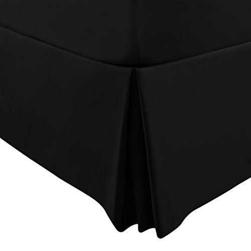 Bed Skirt (Queen, Black, 15 Inch Fall) - Hotel Quality, Iron Easy, Quadruple Pleated , Wrinkle and Fade Resistant by Utopia Bedding - Black Tailored Bedskirt