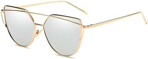 Cat Eye Sunglasses for Women Large Oversized - Cat Eye Sunglasses   Cat Eyes Sunglasses   Women Cat Eye Sunglasses Mirrored Lenses Fashion Metal Frame Womens Sunglasses
