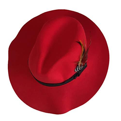 DEATU Elegant Ladies Party Retro Hat Sale Fashion Women Retro Feather Hat Party Beautify Hat Warm Cap(Red