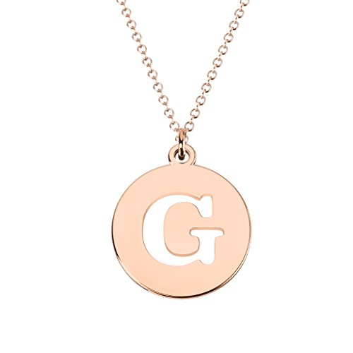 10K Rose Gold 'G' Initial Disc Cutout Pendant by - Rose Pendant Cut Out