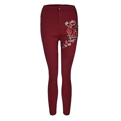 Jeans Femmes Pantalon Florale Maigre conqueror Mode Sexy Haute Taille Stretch Applique Vin Du 5xqCCRBw